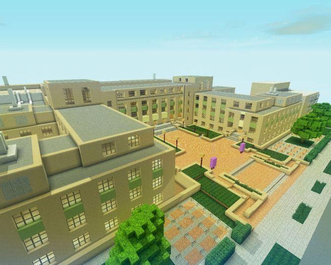 Minecraft Rendition of the NorthWestern University Campus by Ben Rothman.