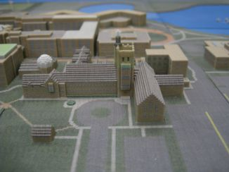 3D Printed Minecraft Representation of Garrett-Evangelical Theological Seminary on NorthWestern University Campus by Ben Rothman