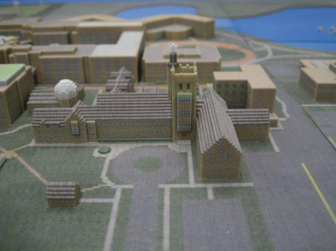 3D Printed Minecraft Representation of Garrett-Evangelical Theological Seminary on NorthWestern University Campus by Ben Rothman