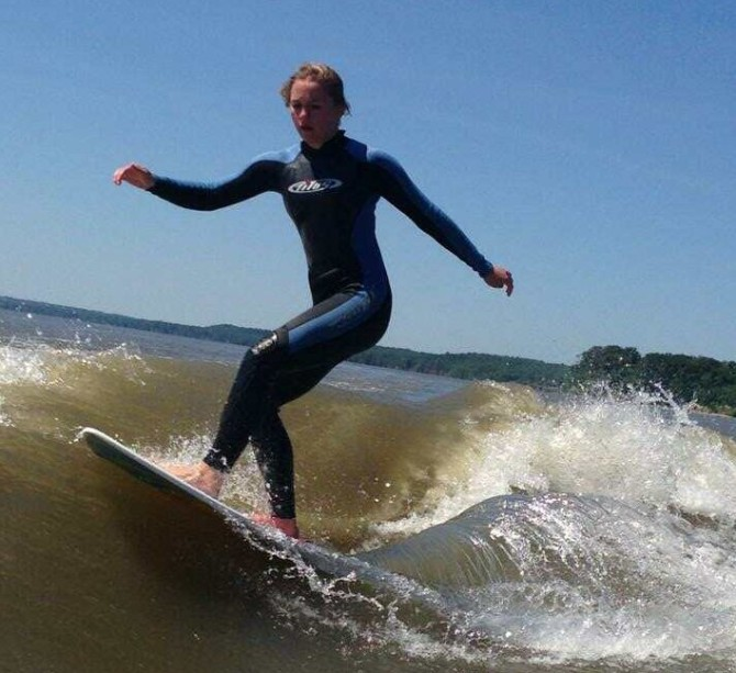 More of Zoey wakesurfing.