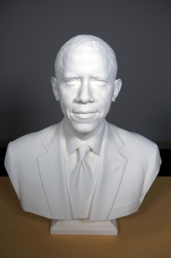 President Obama 3D printed bust at Smithsonian.